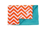 Orange Chevron on Teal Double Minky Baby Blanket